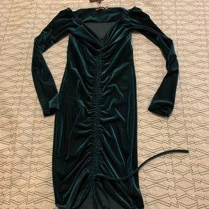 Off the Shoulder Emerald Velvet Dress